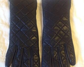 BCBG Quilted Black Leather Gloves