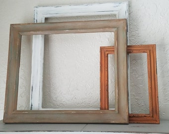 Antiqued picture frames. Set of 3.  Can be sold separately.