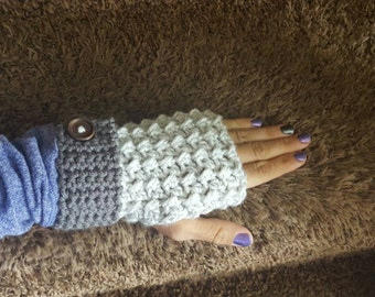 Fingerless hand warmers, fingerless gloves handmade grey and white accented with a brown button