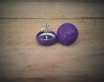 Purple Earrings. Black Swirl Earrings. Handmade Earrings. Fabric Button Earring. Gift For Her. Gift Under 20. Stud Earring. Clip On Earring.