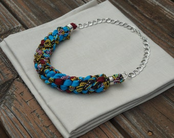 Blue African Print Bib Statement Necklace