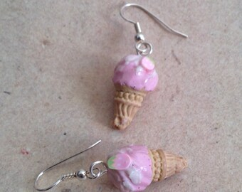 earrings strawberry ice cream, cone pink