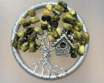 Sale*Green with Birdhouse Tree Pendant