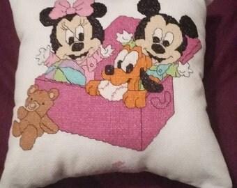 Disney Minnie and mickey  babies cross stitch cushion