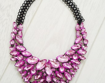 Large statement necklace lilac and black
