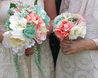 Mint & Coral bridesmaids bouquet