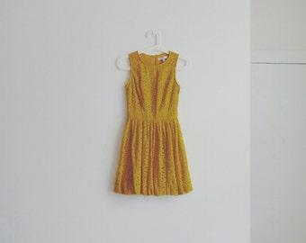 1980s vintage mustard lace dress