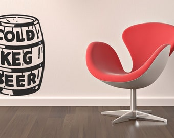 cold keg of beer vinyl Wall Art sticker decal graphics decor home