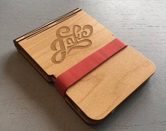 Wood Laser Cut & Engraved Billfold Wallet