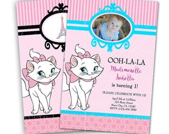 Aristocats Birthday Invitations & Matching Blank Digital Thank You Card