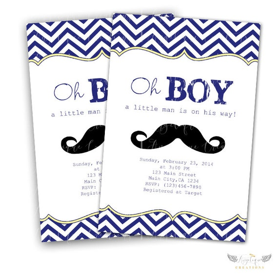 Little Man Oh Boy! Invitations & Blank Thank You Card to match