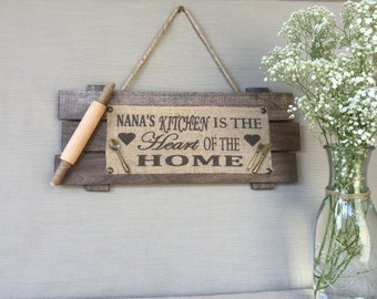 Nana's Kitchen,Wood sign, Personalized Gifts, Personalized Burlap, Personalized Kitchen Decor, Personalized Home Decor