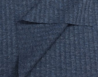 Textured 4x4 Rib Knit Sheer Fabric (Wholesale Price Available By the Bolt) USA Made Premium Quality - 5163A- Indigo - 1 Yard