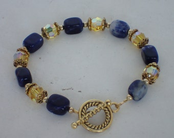 Lapis Lazuli Swarovski Crystal Beaded Bracelet