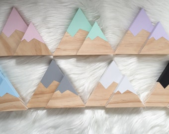Wooden mountain sets of two - nursery decor / kids room decor