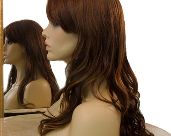Forever Young Edge Savvy Wig (Color 8/12/24BHL) Natural Hair | Long Layered Wig with Bangs | Straight and Wavy Wig