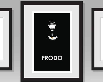 Lord of the Rings Frodo Poster- JRR Tolkien Black and White
