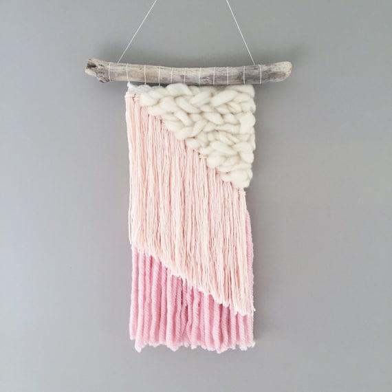 Woven Wall Weaving / READY TO SHIP / Wall Hanging / Blush Pink Cream White Ombre Neutral / Nursery Art / Home Decor / Boho / Wall Art /