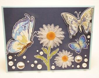 Handmade Blue Daisy and Butterfly Card