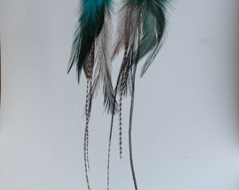 Long Blue and Black feather earrings