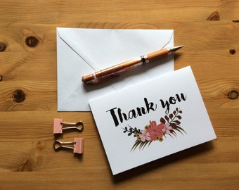 A6 'Thank you' Floral Card (white background)