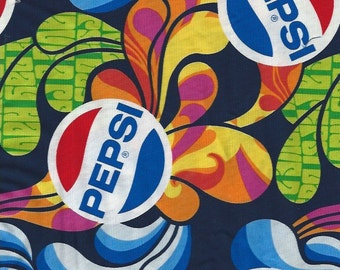 Pepsi, with Swirls of Colors Splashes,Camelot Fabrics
