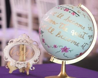 "12"" diameter custom hand painted wedding card box globe"