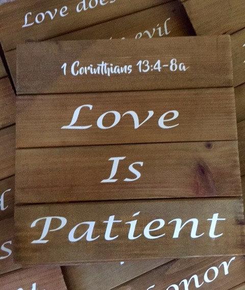 1 Corinthians 13 Wedding Invitations: Love Is Patient Love Is Kind Wedding Aisle Signs Wedding