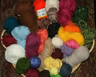 Mystery Grab Bag, 2 lbs 12 oz, Mostly Worsted Weight, Some Hand Dyed, Assorted Yardage, Assorted Fibers Destash Crochet Knit - Box 11