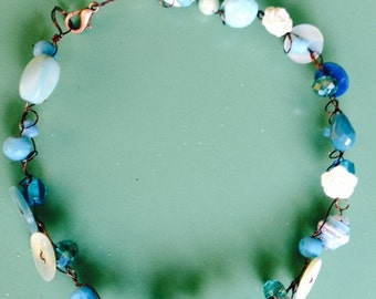 Choker necklace with semiprecious stones and vintage buttons