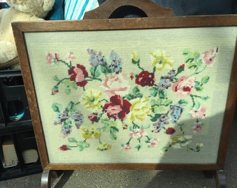 Wood Framed Fire Screen with Floral Tapestry