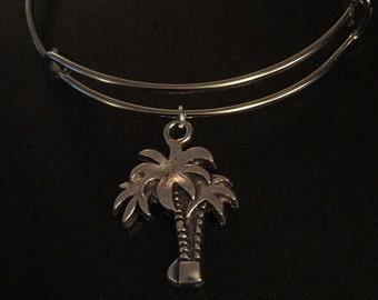 Adjustable bangle charm bracelet. ~ The Palms~ Heavier weight charm