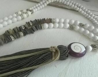 Qastenkette long chain style white coral shell Pearl boho