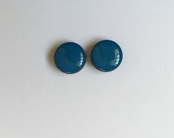 12mm Blue Glossy Wood/Resin Studs