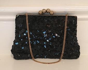1950's Vintage Black Sequin Purse,  Sequin Mini Evening Bag, Prom Purse, Wedding Purse, Small Black Purse