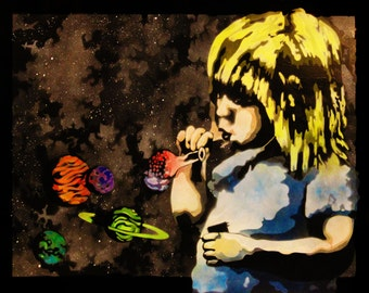 Girl Blowing Bubbles, Space Scene, cosmic art, art about potential, art about childhood, imagination, dreams, spray paint art