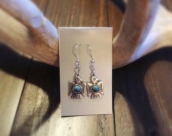 Native American earrings-tribal earrings-boho-eagle-Turqoise-silver-southwest