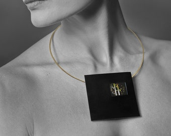 Handmade unique necklace - black leather and gold, graphic on the metal