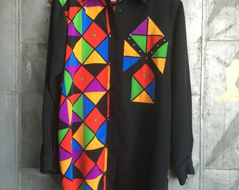 SALE 80's Geometric Studded Mod Blouse