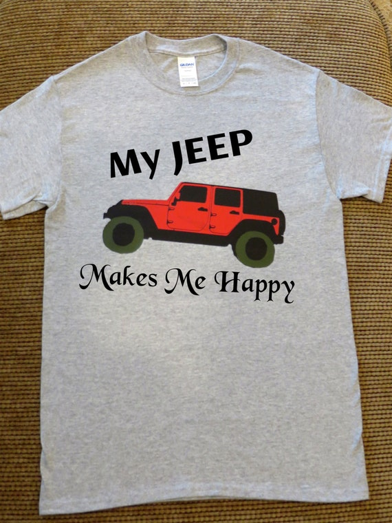 Jeep my jeep makes me happy glitter or plain vinyl t shirts for Where can i order custom t shirts