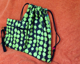 New Black and Green Drawstring Tote bag with Matching Wristlet