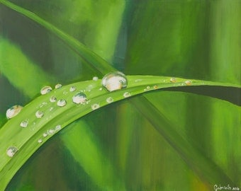 Print of oil painting from me made, water drop on blade of grass