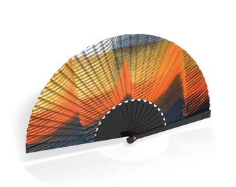 "Khu Khu Hand-Fan / Abanico with ""Kingfisher"" painted print from the Flight of Fancy Collection"