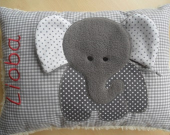 Baby pillow elephant 10 inch x 14 inch 25 x 35 cm name, baby pillows personalized