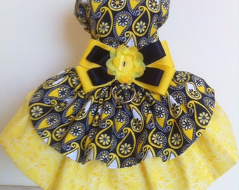Yellow Black dog harness dress any occasion cotton lined velcro closure