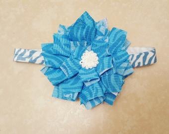 Blue Zebra Print Headband
