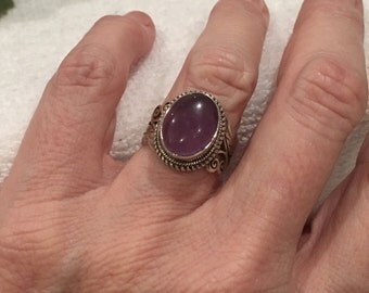 Absolutely Wonderful Vintage Solid STERLING Silver & AMETHYST STATEMENT Ring-Lovely Decorative Design-6.5 grams-Uk Size L-Us Size 5 1/2.