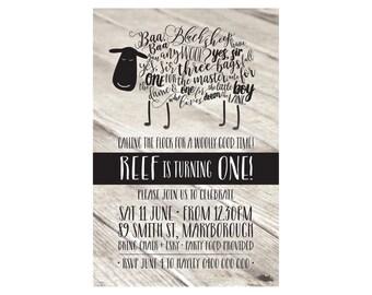 Kids Birthday Printed Baa Baa Black Sheep Invitations + Envelopes. Great Quality! Matching party bags available.