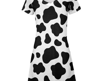 Cow Pattern Costume All Over Juniors Beach Cover Up Dress