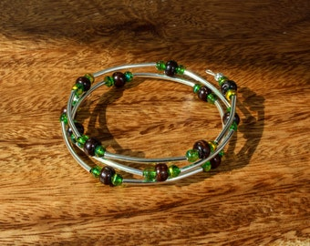Brown and green beaded memory wire bracelet